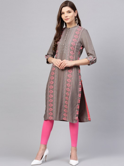 W Presented Grey Colored Festive Kurti