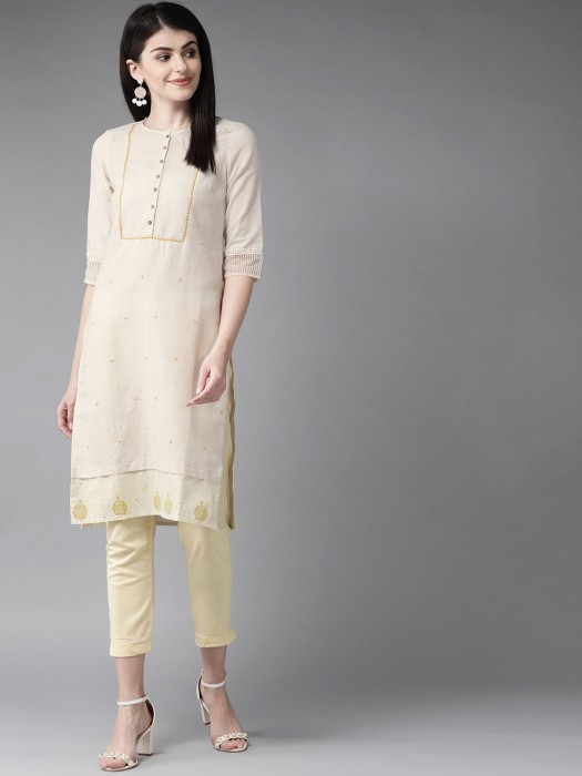 W Solid Beige Casual Get Together Kurti