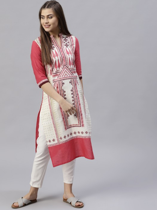 W White And Peach Casual Cotton Kurti