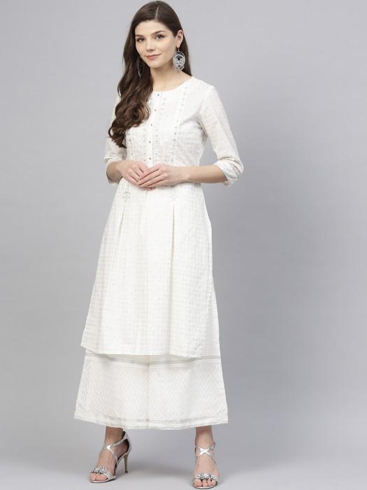 W White Colored Festive Wear Kurti