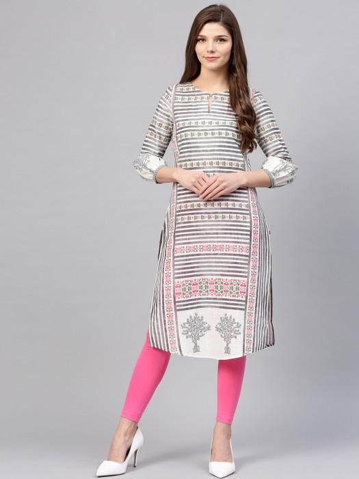 W White Printed Pattern Regular Kurti