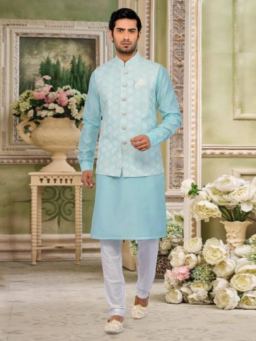 Waistcoat And Churidar Set In Aqua For Wedding