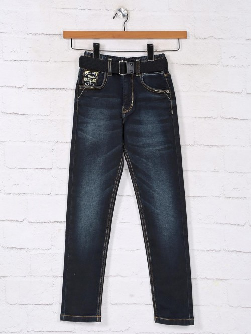 Washed Navy Vintage Denim Jeans For Boys