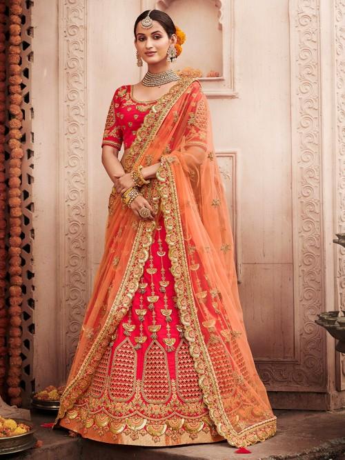Wedding Bright Pink Semi Stitched Designer Lehenga Choli In Silk