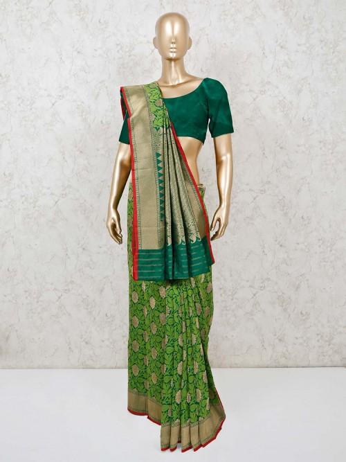 Wedding Function Banarasi Silk Saree In Green