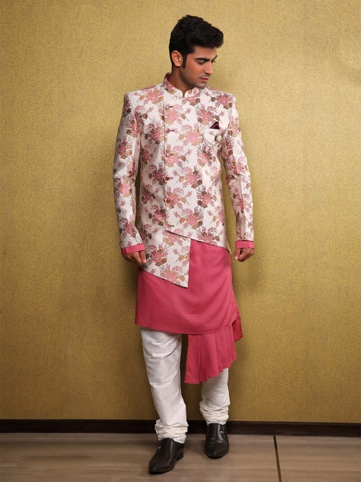 Wedding Function Coral Pink Hue Designer Waistcoat Set