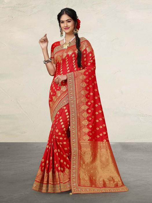 Wedding Occasion Red Cotton Silk Saree