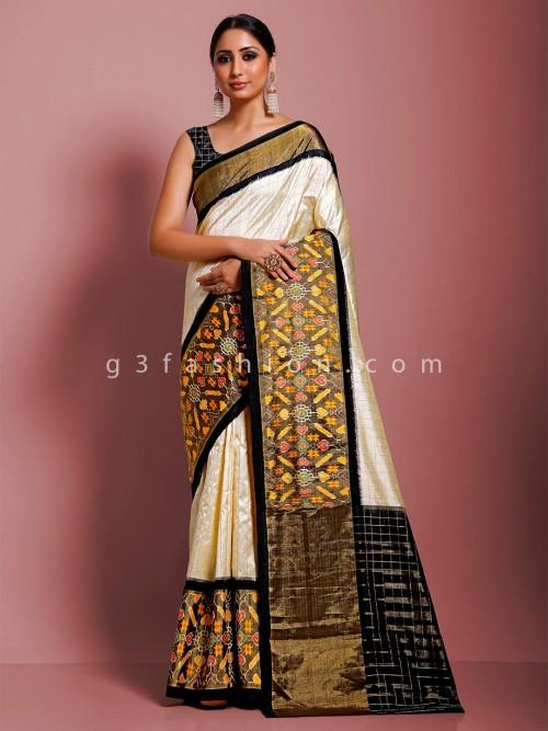 Cream And Black Half N Half Ikkat Design Hydrabadi Patola Saree