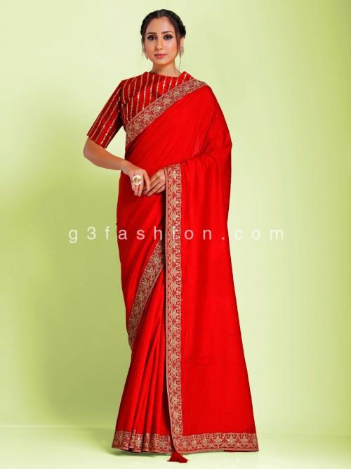Wedding Red Munga Tusser Silk Saree With Ready Made Blouse