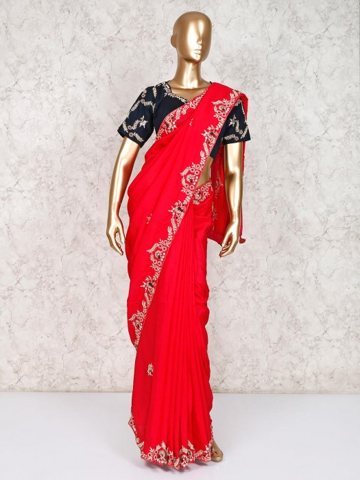 Wedding Saree In Red With Ready Made Blouse