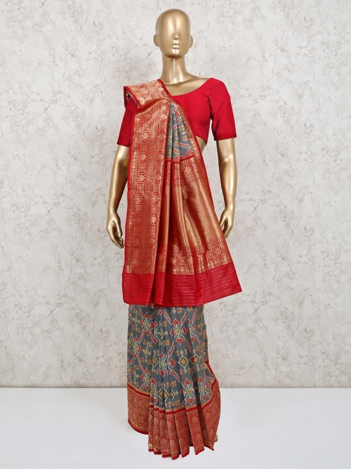 Wedding Wear Grey Saree With Thread Weave