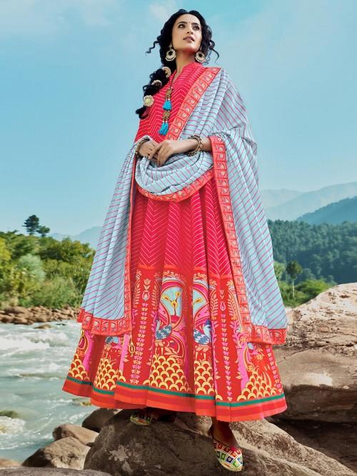 Wedding Wear Magenta Cotton Silk Anarkali Designer Suit