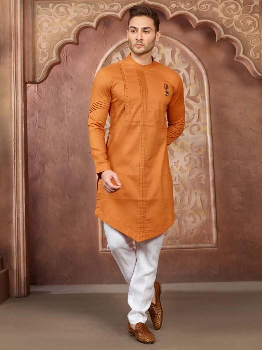 Wedding Wear Orange Hue Cotton Silk Kurta Suit