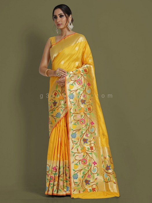 Wedding Wear Pure Banarasi Yellow Saree