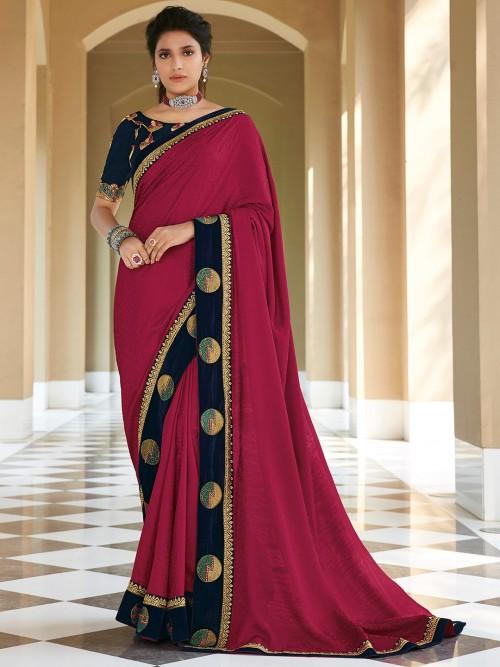 Wedding Wear Purple Satin Saree