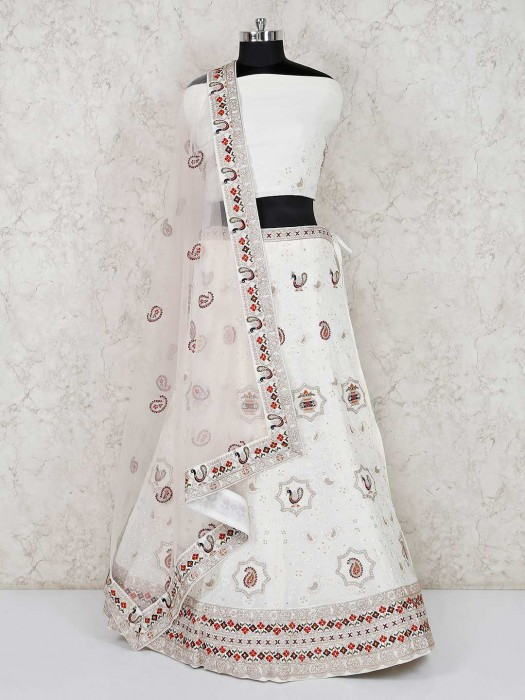 Wedding White Semi Stitched Lehenga Choli