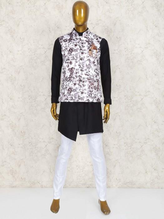 White And Black Terry Rayon Waistcoat Set