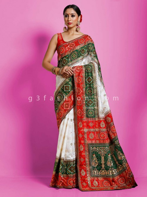 White And Green Hydrabadi Patola Silk Wedding Saree