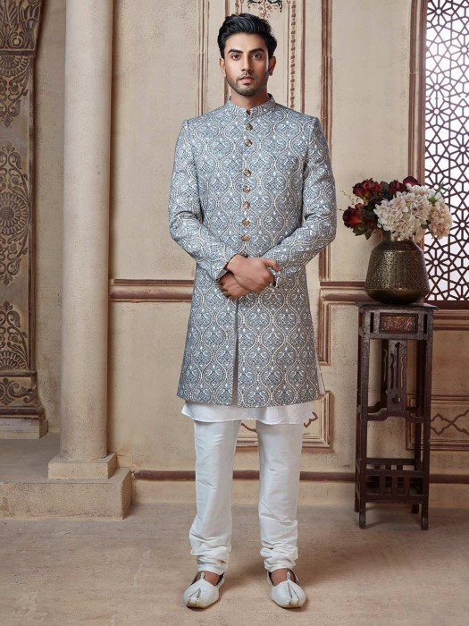 White And Grey Embroidered Wedding Sherwani Suit
