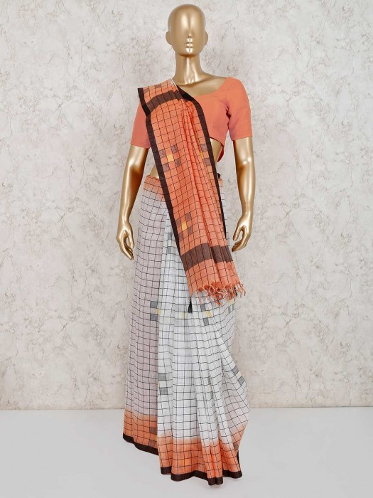 White And Peach Linen Checks Saree