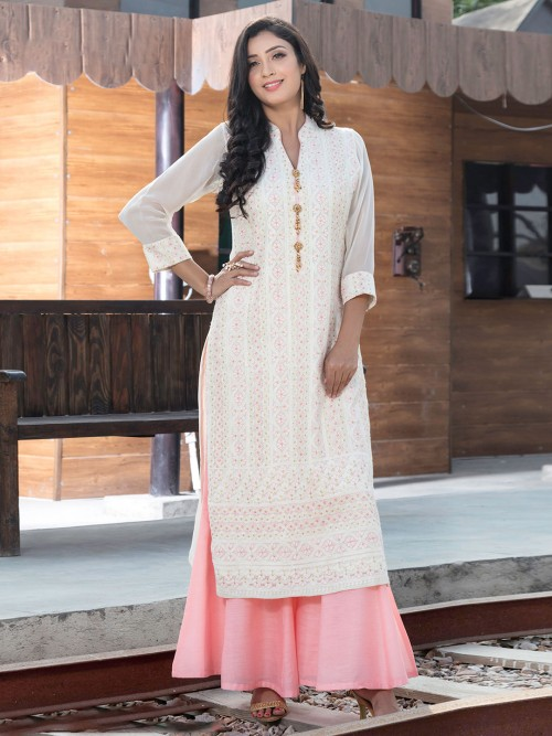 White And Pink Lucknowi Work Georgette Punjabi Palazzo Suit
