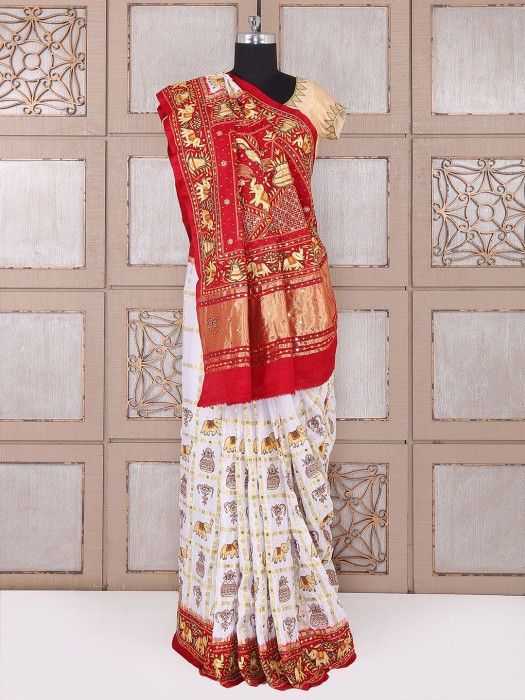 White And Red Bridal Wear Saree