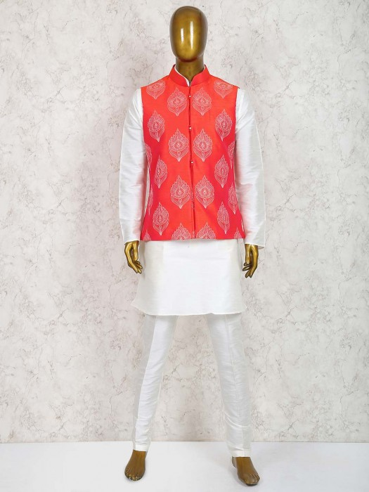 White And Red Colored Party Wear Waistcoat Set