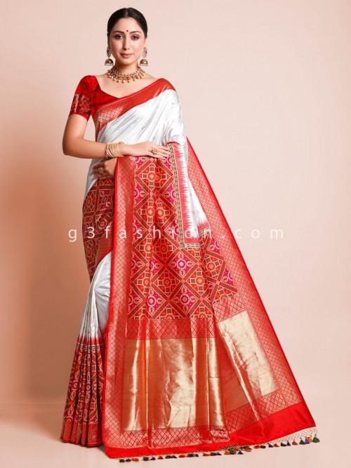 White Banarasi Silk Saree For Wedding Wear