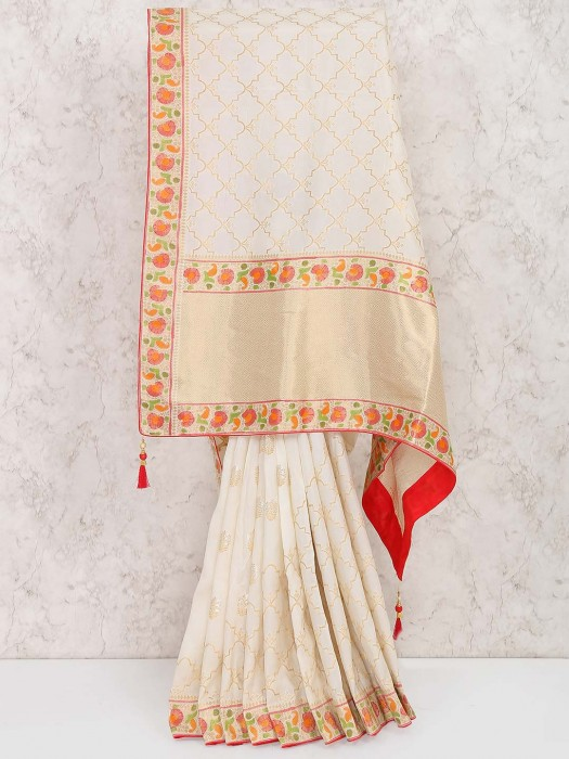White Color Muga Silk Festive Saree