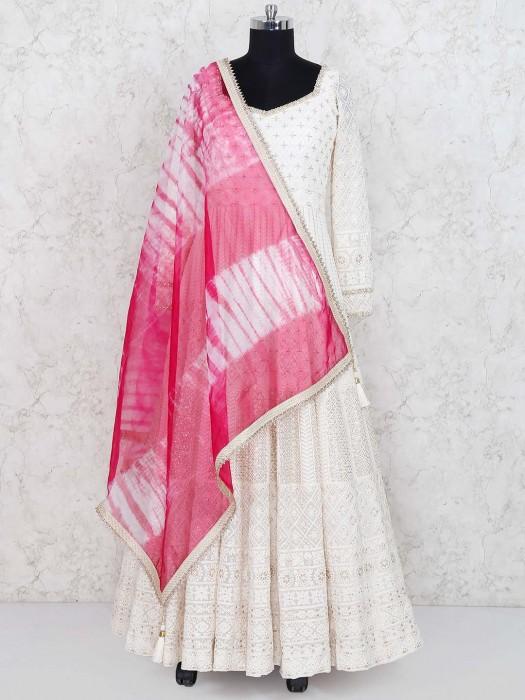 White Colored Georgette Floor Length Anarkali Suit