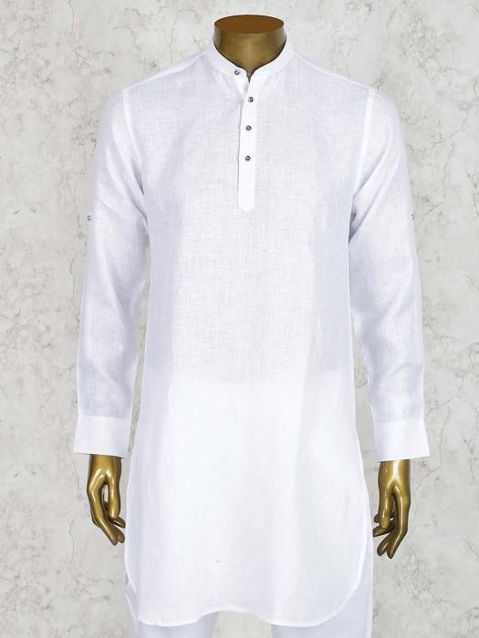 White Colored Mens Linen Cotton Short Pathani