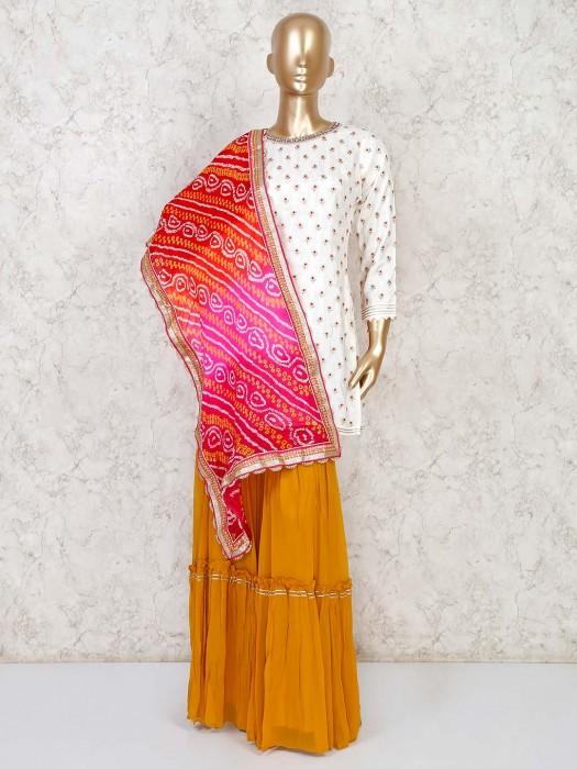 White Cotton Silk Punjabi Sharara Suit