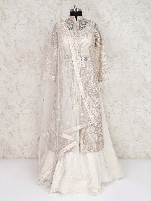 White Designer Double Layer Georgette Lehenga Choli