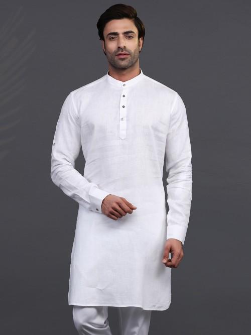 White Linen Mens Kurta For Festive Days