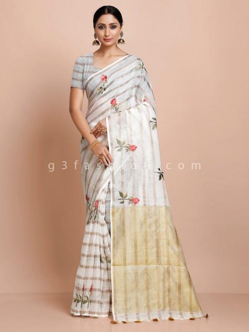 White Printed Cotton Linen Saree