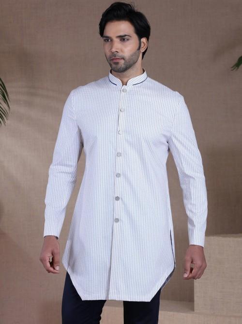 White Printed Cotton Short Cotton Kurta