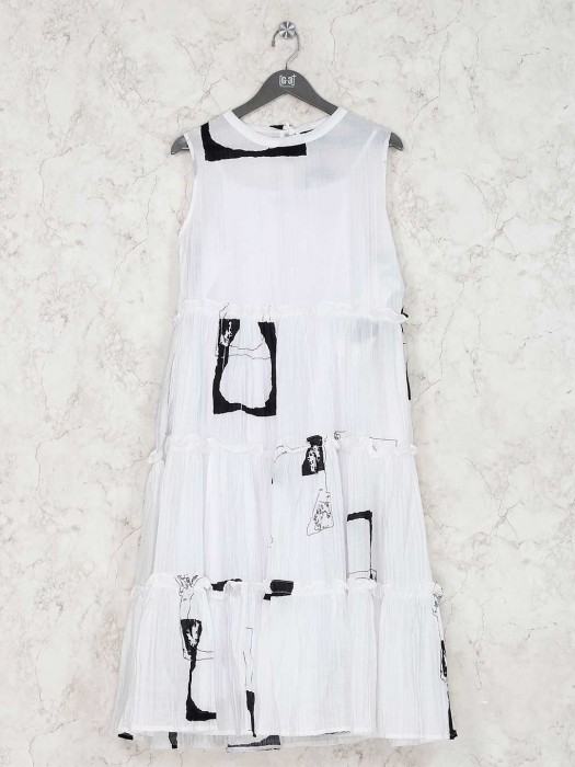 White Printed Kurti In Cotton