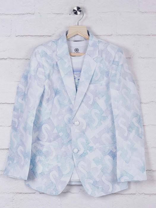White Printed Terry Rayon Fabric Blazer