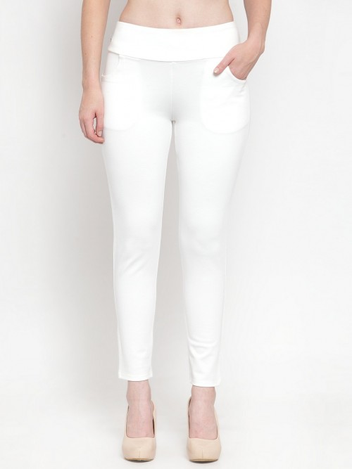 White Soid Cotton Skinny Fit Jeggings