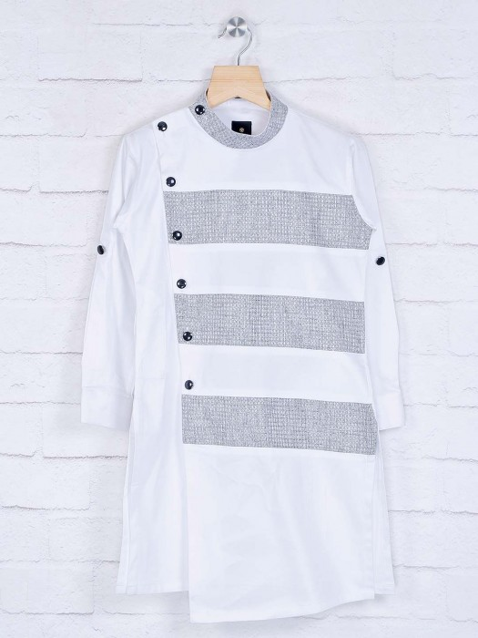 White Stripe Design Cotton Kurta Suit