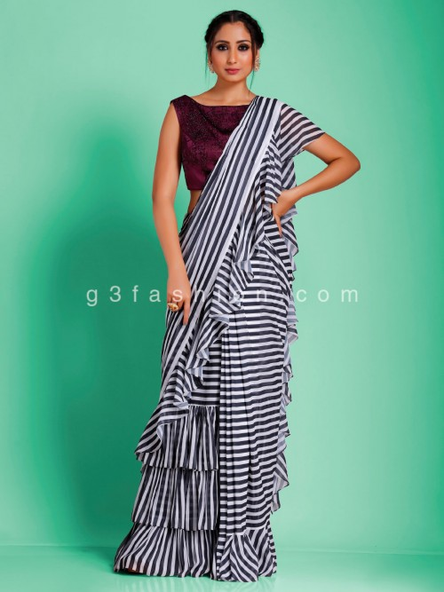Chiffon Georgette Stripe Black And White Ruffel Saree With Readymade Blouse