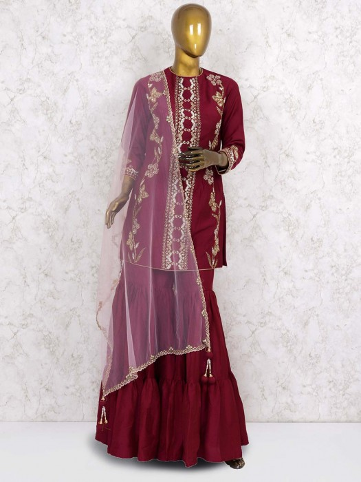 Wine Hue Designer Cotton Silk Punjabi Sharara Suit