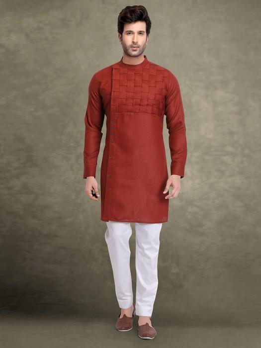 Wine Maroon Cotton Fabric Men Kurta Suit