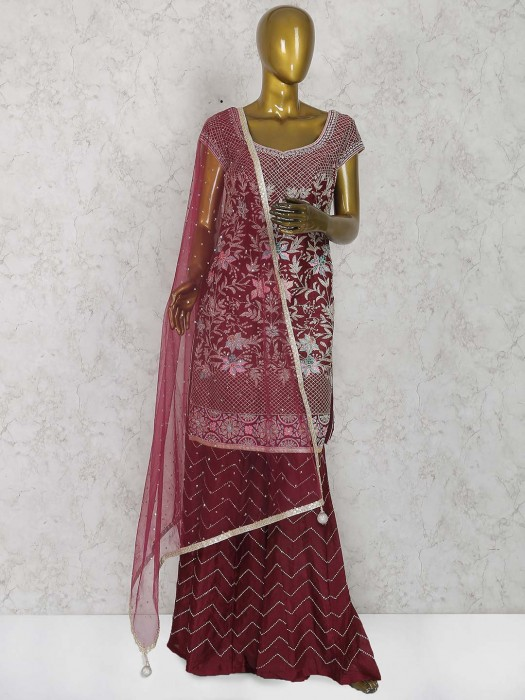 Wine Maroon Hue Raw Silk Punjabi Sharara Suit