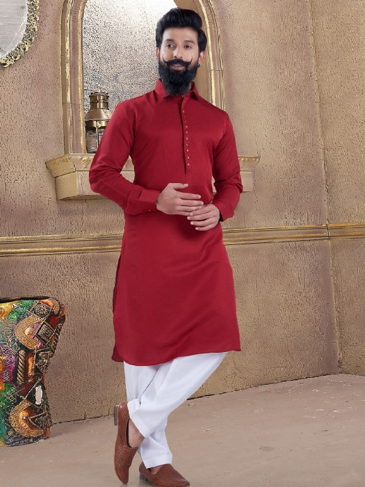 Wine Maroon Pathani Suit In Cotton Silk