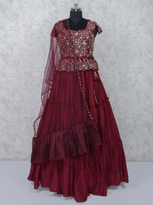 Wine Maroon Silk Wedding Function Lehenga Choli