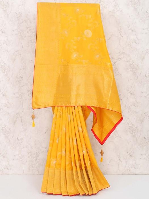 Wonderful Orange Muga Silk Festive Saree