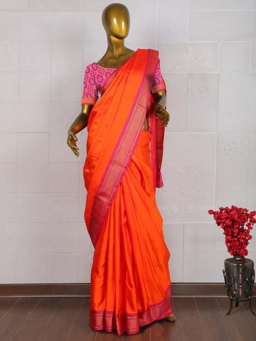 Wonderful Orange Pure South Silk Sare
