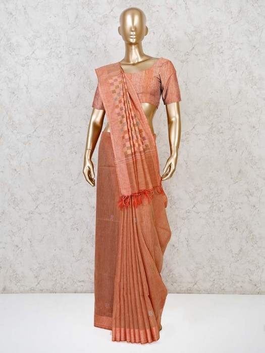 Wonderful Peach Saree In Cotton