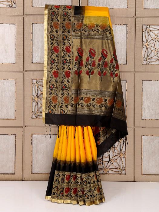 Yellow And Black Reception Wear Saree